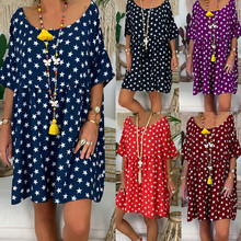 S-5XL Plus Size Women Short Sleeve Dresses O-Neck Floral Print Casual Summer Short Dress Fashion beach dresses 2019 Ladies Dress стоимость