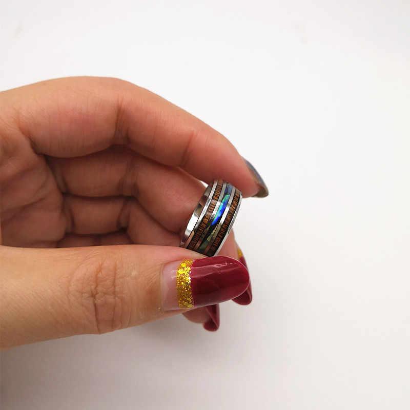 INSTANT LOVE 8 мм Гавайская древесина КоА и Abalone Shell вольфрамовое Карбидное Кольцо мужское обручальное кольцо удобная посадка