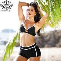 New Solid Bikini Set Vintage Bodysuit Push Up Swimwear Women Sexy Swimsuit Sport Style Bathing Suit