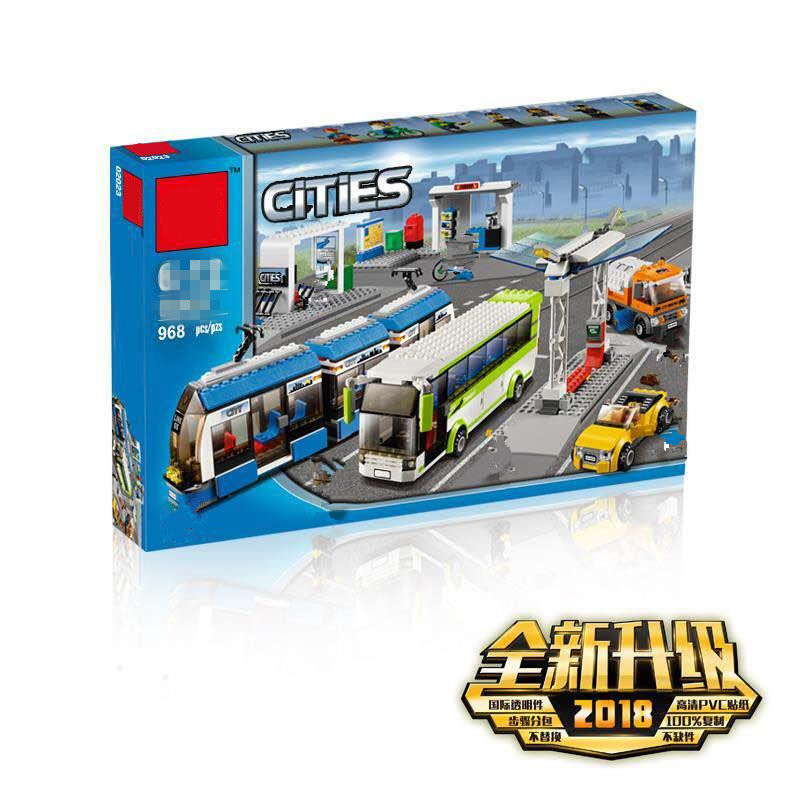 New Blocks The Compatible  City Public Transport Station Set Toys Building Bricks Bus Train Car Christmas Gift For Boy