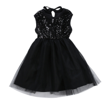Baby Girl Wedding Party Dress Prince Gauzy Dress Bubble Black Sleeveless Sequins Dress Girls Summer Dress