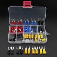 80 pçs garfo terminal de cobre crimp colector isolado cabo final conjunto conectores de fio dicas elétricas mangas de friso azul vermelho