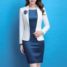 Nuevo azul blanco chaqueta vestido trajes mujeres señora de la oficina de  negocios Formal desgaste OL elegante Slim lápiz vestid. d0d25f7c761d