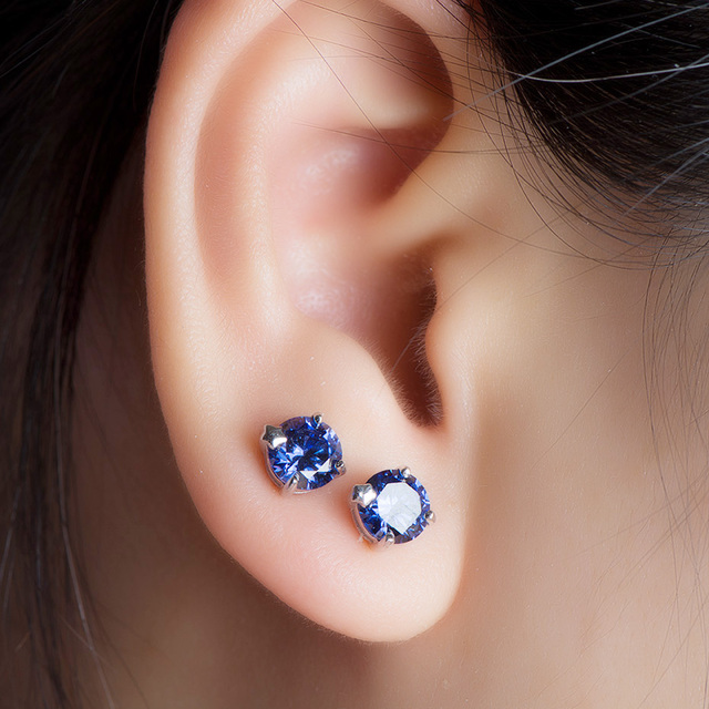 Kuololit Tanzanite Gemstone Stud Earrings for Women Solid 925 Sterling Silver Wedding Handmade Jewelry Fashion Gift For Girl New
