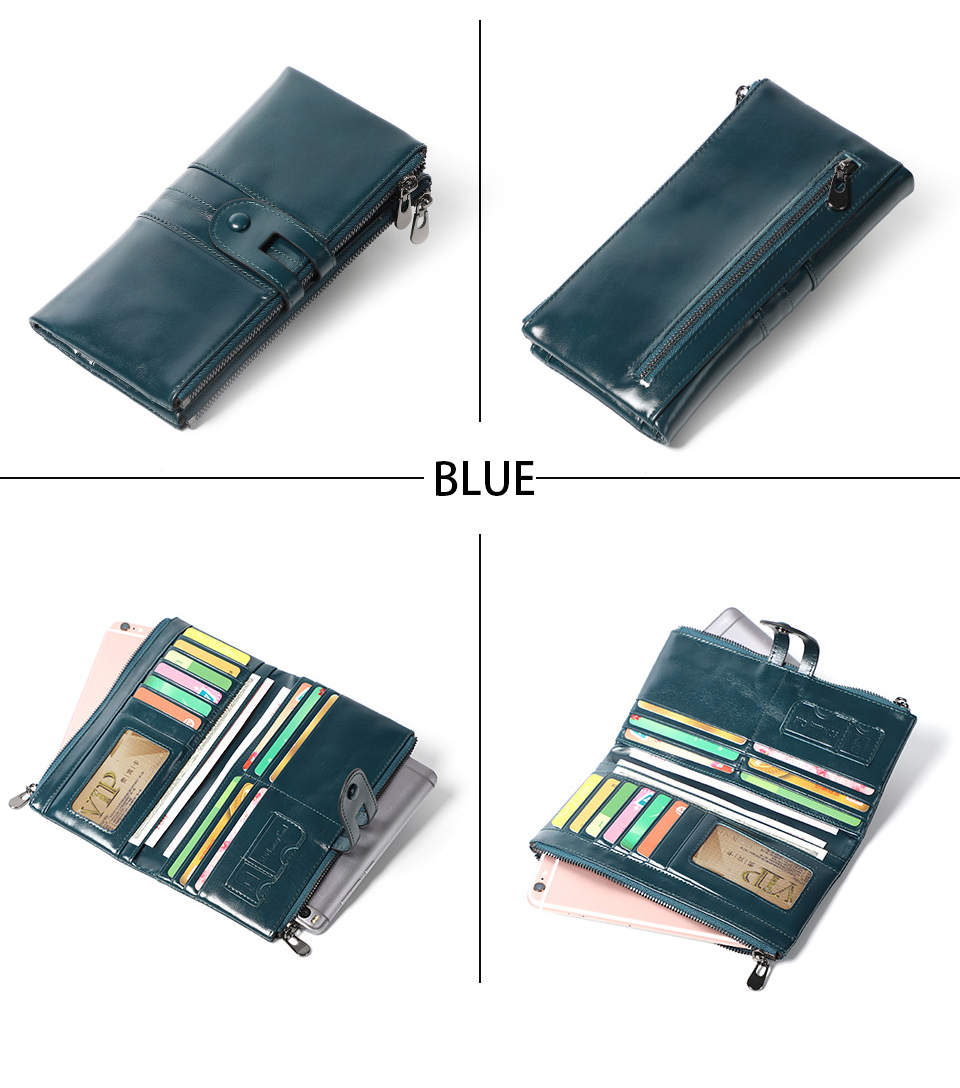 genuine Leather Women Purses Long Zipper Ladies wallet (10)
