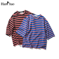 Oversize Stripe Tshirt Men Short Sleeve 2017 Summer Streetwear Hip Hop T-shirt Men Faded Memory Patch Fashion Tee Shirts
