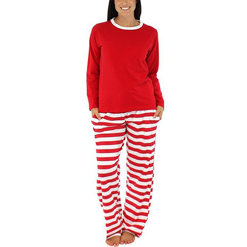 Fashion Kids Adult Christmas Nightwear Pajamas Long Sleeve Tops+Striped Pants Sleepwear Suit -MX8