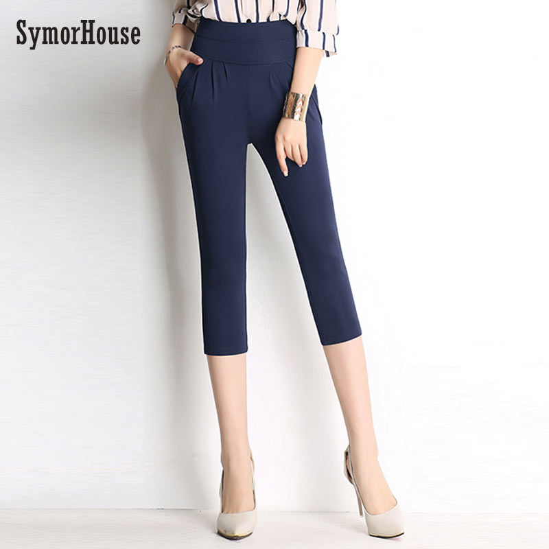 Women Summer Pencil   Pants   2019 Ladies Ol Solid Leisure Harem Trousers Slim Candy Color Stretch Office   Pants     Capris   Plus Size 6XL