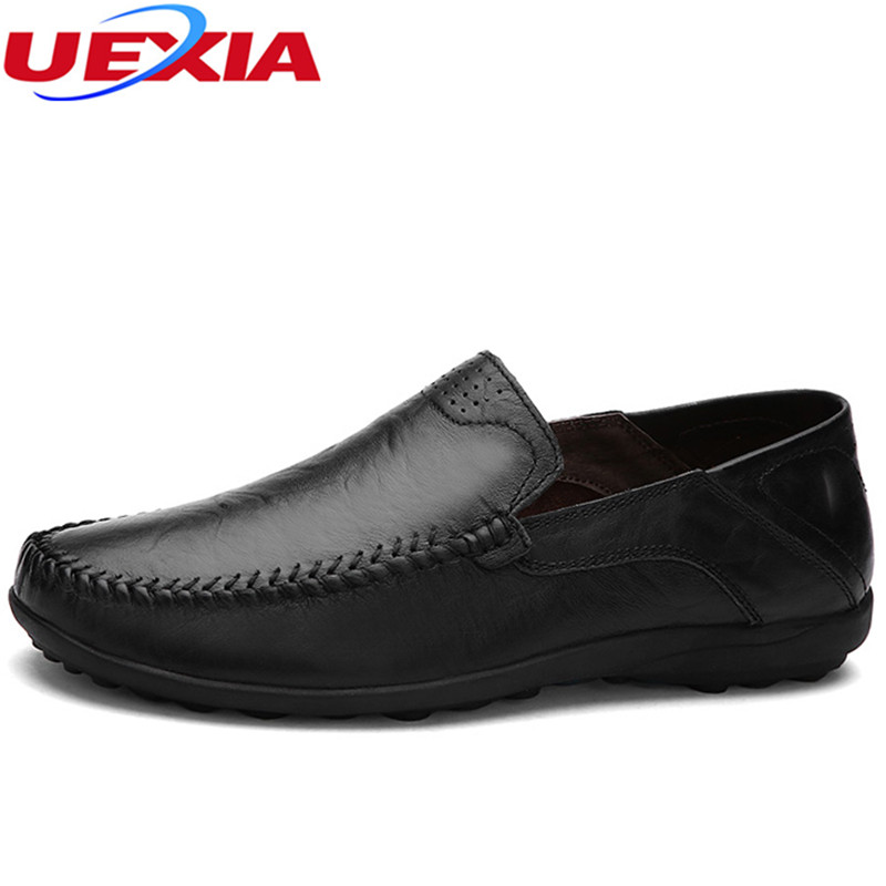 UEXIA Loafers Designer Slip On Flats Shoes Men Breathable Moccasin Soft Comfortable Driving Quality Split Leather Flat Hot Sale new arrival high genuine leather comfortable casual shoes men cow suede loafers shoes soft breathable men flats driving shoes