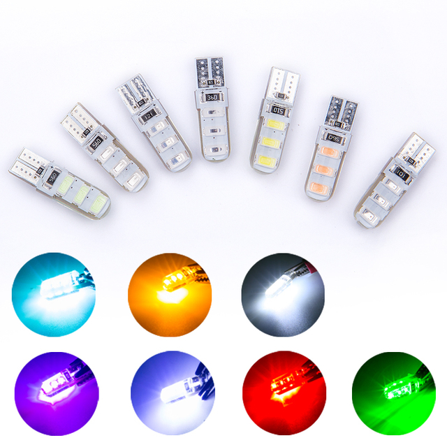 Wholesales 100pcs Car LED T10 W5W 6SMD 5730 Led Bulb Canbus Silicone Dome Light No Error Parking License Plate Bamp Car Styling