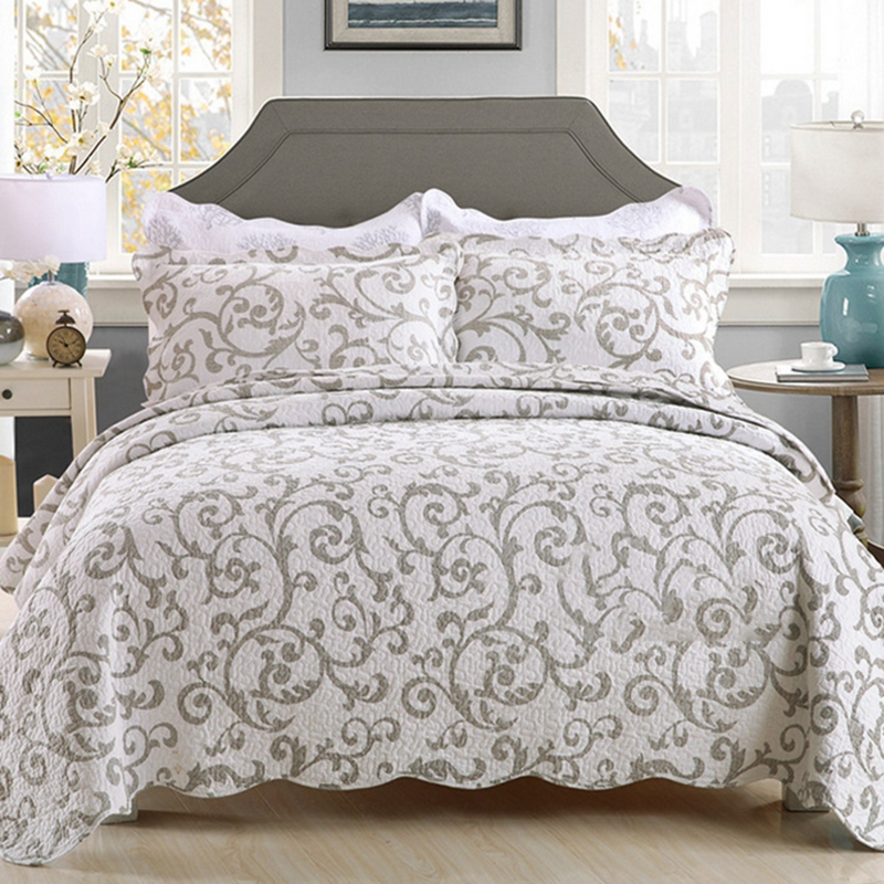100 cotton europe style queen size bedspread 3pcs bedding sets air condition quilt blanket. Black Bedroom Furniture Sets. Home Design Ideas