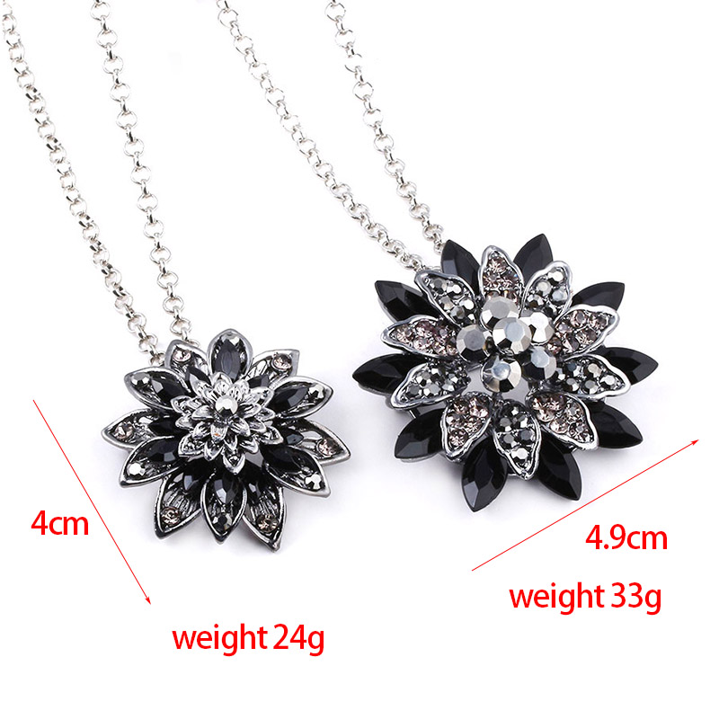 The Black Dahlia Spiderman Hero Returns Necklace Vintage Flower Pendant Pins For Women Crystal Necklaces Jewelry Decoration in Pendant Necklaces from Jewelry Accessories