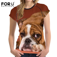 FORUDESIGNS Women T Shirt Feamle Tops Tees Humor Pugs 3D Dog Printing Women S Funny T