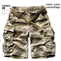 Wholesale Outdoor Cotton Multi pocket Camouflage cargo shorts male loose leisure beach Hiking Climbing cycling cargo shorts men
