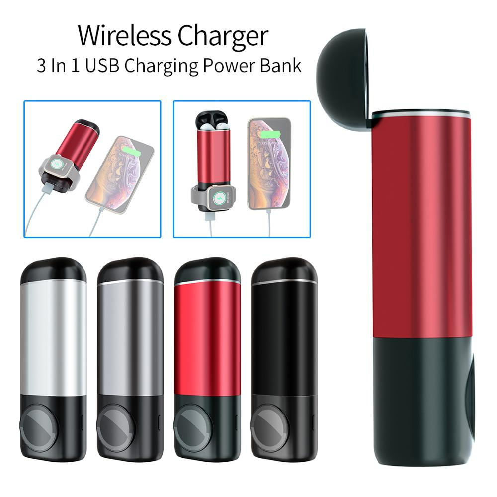 3 In 1 Wireless Charger 5200mah Power Bank For IPhone XS For Apple Watch 4/3/2/1 AirPods Portable Mobile Phone USB Charging