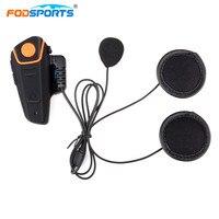 Fodsports 1pcs Bluetooth Intercom For Motorcycle Helmet Headset Waterproof IPX7 Interphone With FM Radio Stereo Music
