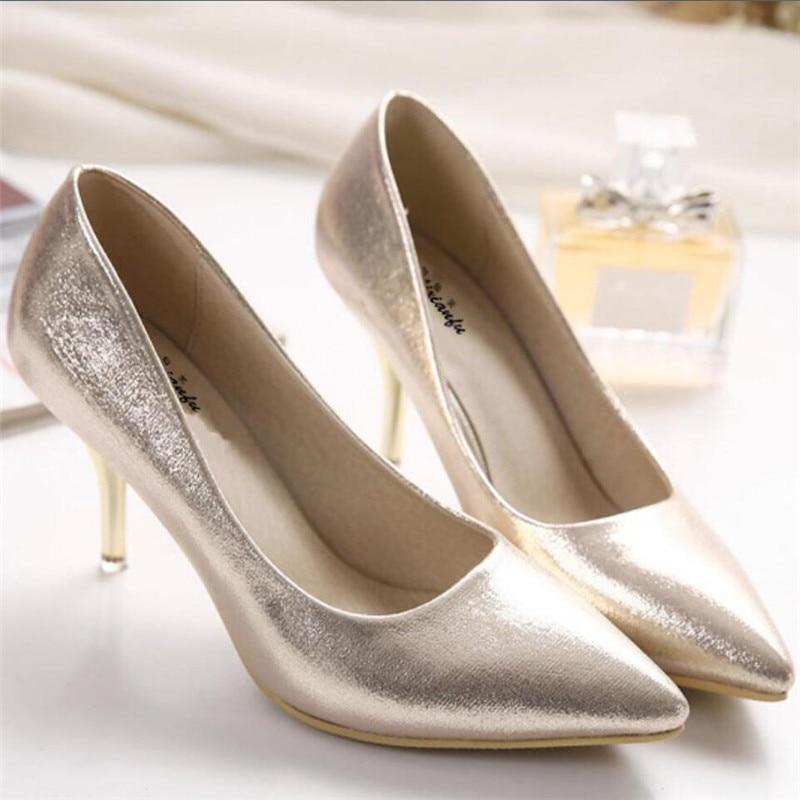 Crossdresser Stylet Chaussures Bouche Peu Femmes Pompes Or Zapatos De Mince Mujer Bout Talons Plus Mariage Pointu argent Profonde 38 Femme 34 39 r8xvrwqZf