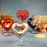 Creative Vintage Iron Hollow Out Heart Shape Candlestick Holder Candle Stand Light Romance Valentine S Holiday
