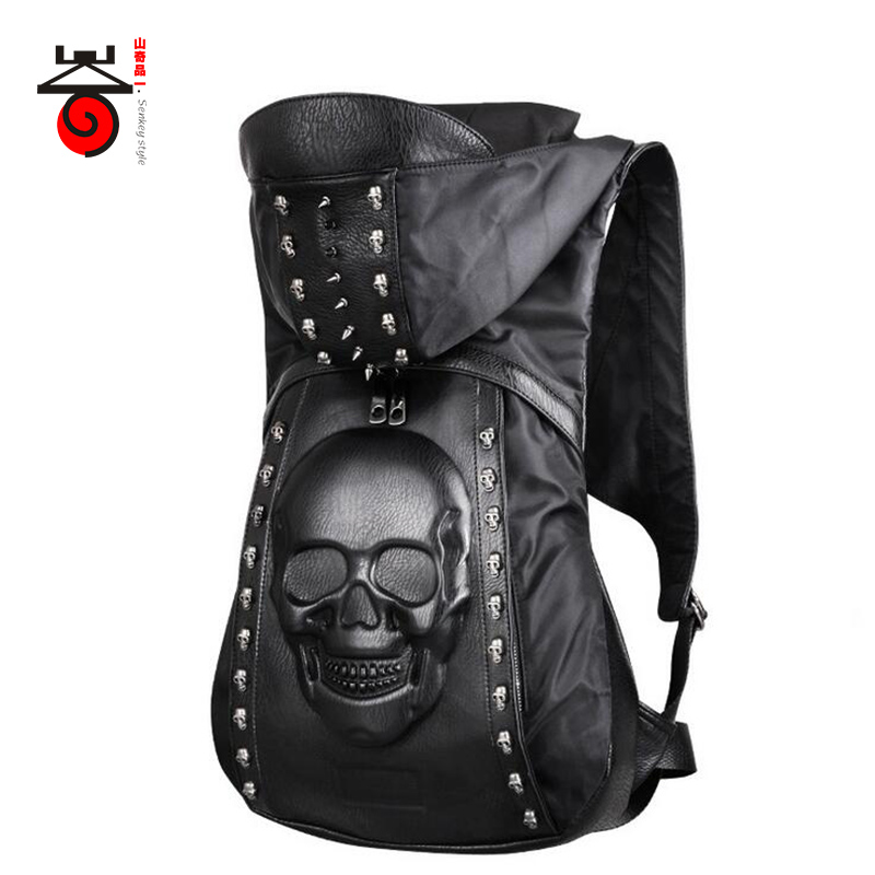 Senkey style Fashion Men Backpacks Skeleton head Designer 3D stereoscopic Men's School Bag Travel Laptop Backpack High Quality senkey style designer backpack men high quality 2017 waterproof leather retro laptop backpack women school bags for teenagers