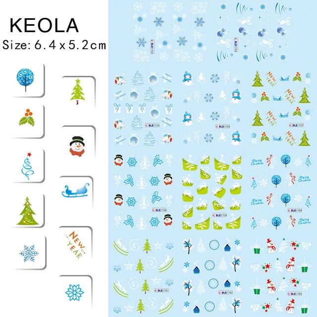 BLE1753-1763 diseño patrón de copo de nieve Azul y verde árbol de Navidad pegatinas de uñas de arte de uñas herramienta de manicura decoración calcomanías de transferencia