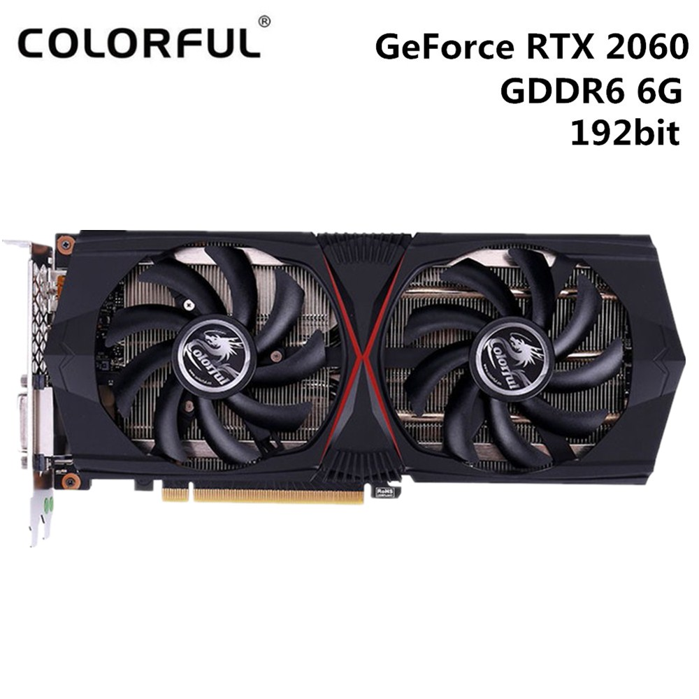 Original Colorful GeForce RTX 2060 Gaming GT 6GB Video Graphics Card 1365MHz GDDR6 192bit 12nm HDMI DVI DP