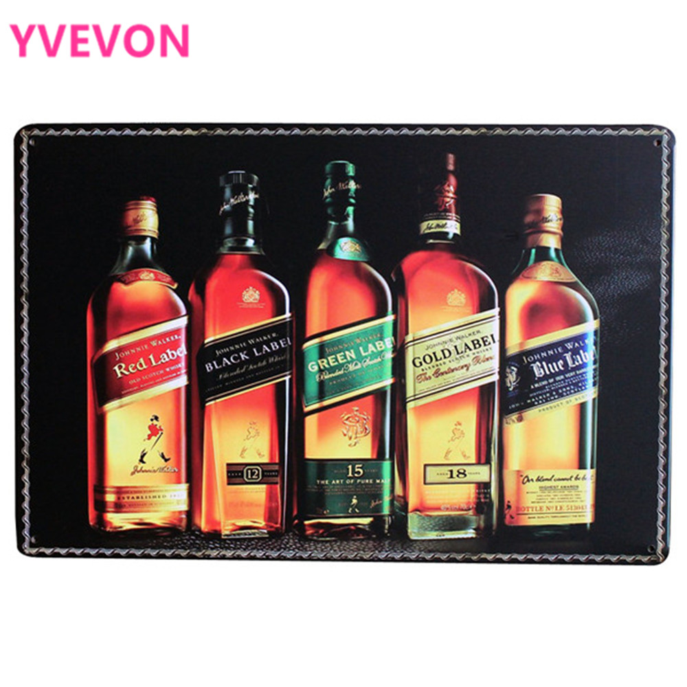 JOHNNIE WALKER Vintage Metal Vinskilt Retro Tinn Home Decor Plakke Likør Plate For Drikke Middag Party Wall Art 20x30cm