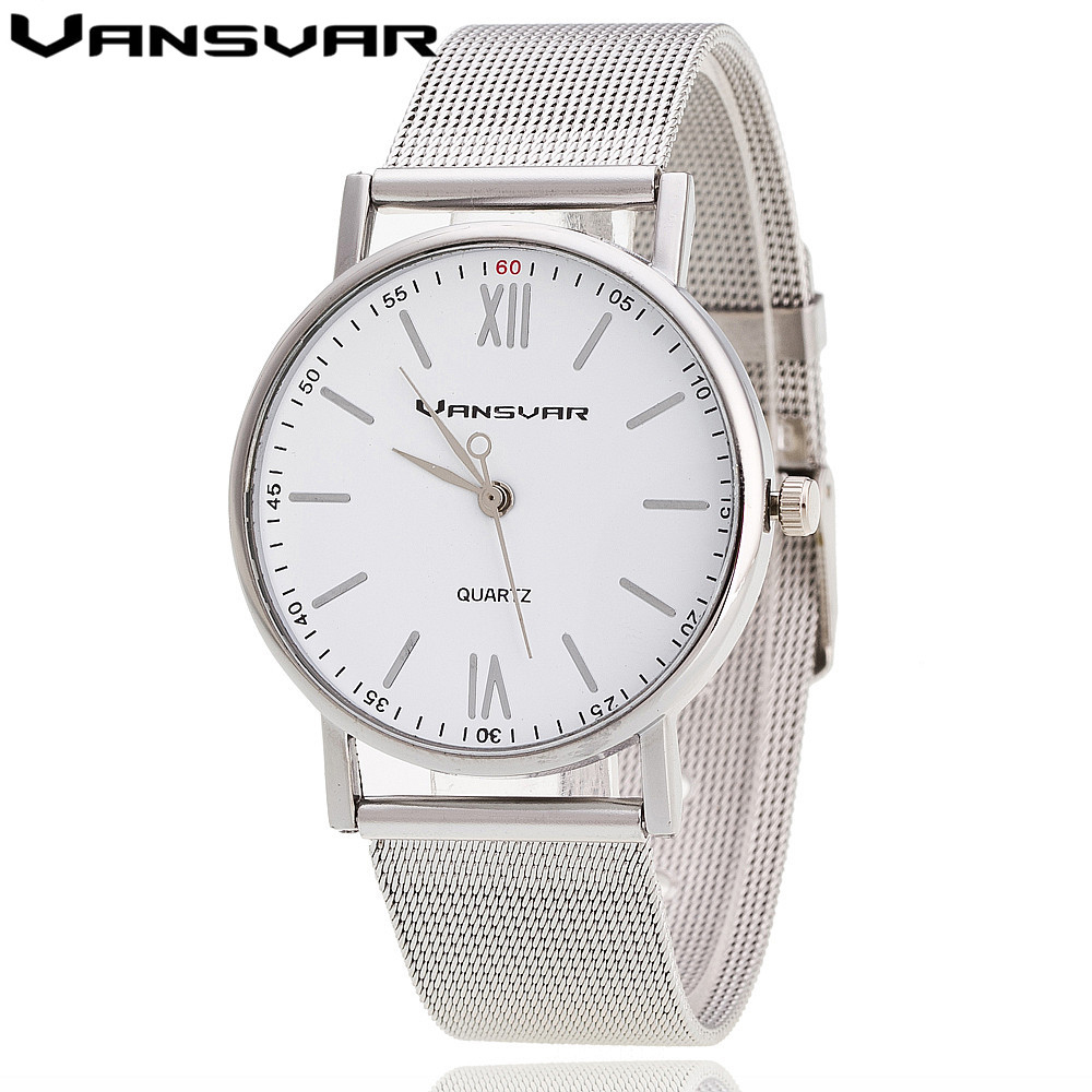 Vansvar Women Quartz Watch Fashion Silver Watch Casual Women Wrist Watch Reloj Mujer Relogio Feminino Clock Drop Shipping 1696 new fashion unisex women wristwatch quartz watch sports casual silicone reloj gifts relogio feminino clock digital watch orange