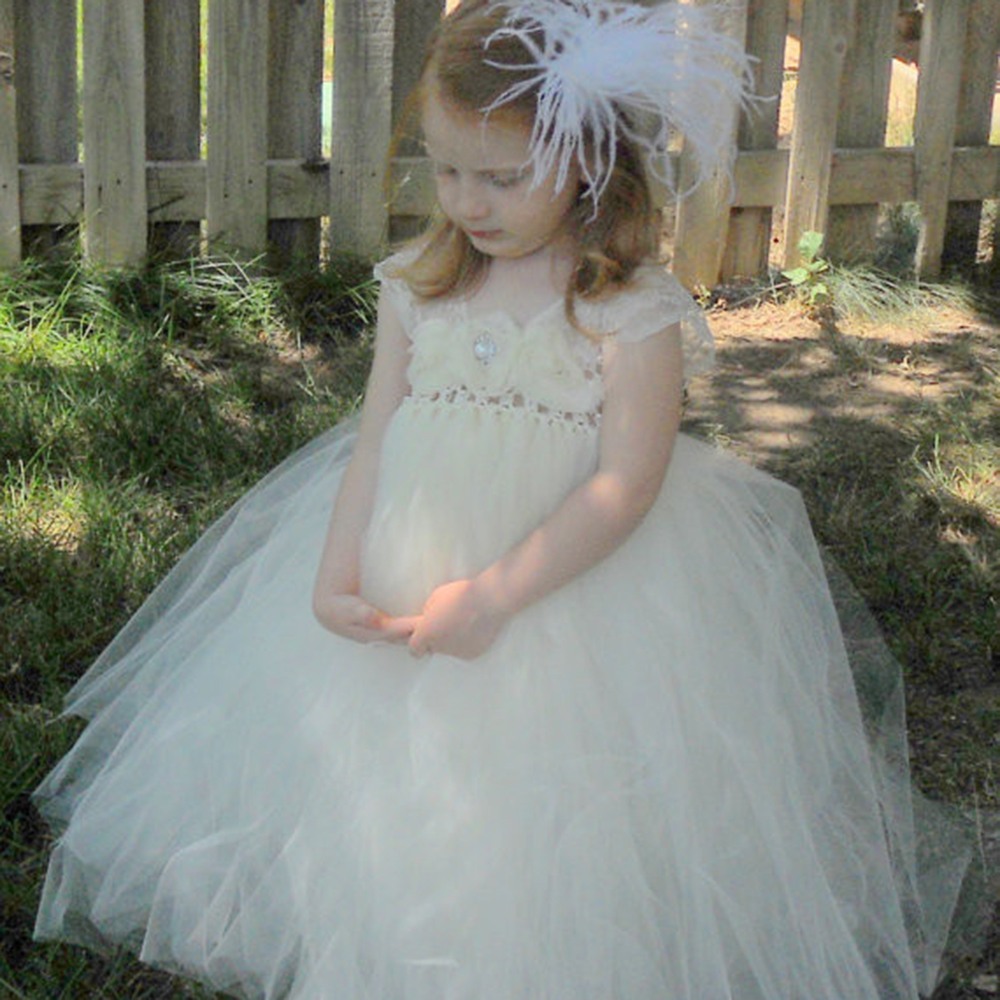 Ivory Lace Flower Girl Long Prom Gown Wedding Tutu Dress Baby Kids Shabby Flowers Bridesmaid Party Evening Dresses Wear 2-10 y