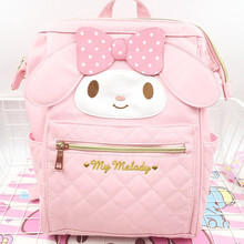News Cartoon Cute Genuine My Melody Backpack Hellokitty Bag High Quality Pu Pink School Bags Travel For Girls gift