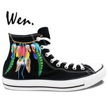 Wen Design Custom Hand Painted Shoes Feather Dreamcatcher Men Women's Black High Top Canvas Sneakers