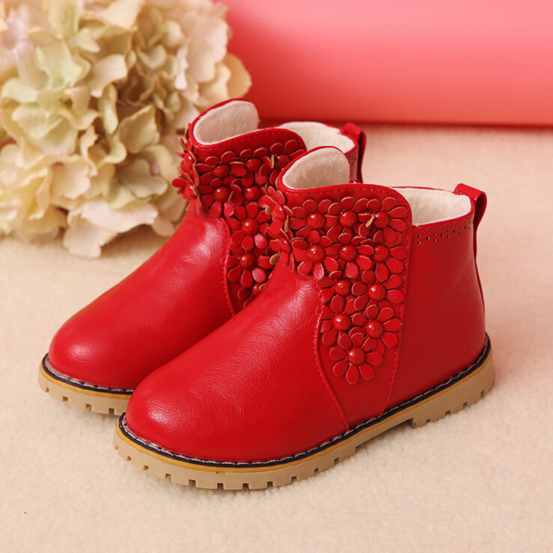 2016 new winter Korean girls sweet style flower casual cotton boots children keep warm shoes ladies fashion snow boots for kids