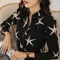 Freeship vinho branco/preto/luz azul starfish impressão mulheres casuais senhoras blousers camisa Blusas de trabalho do escritório de moda & camisas