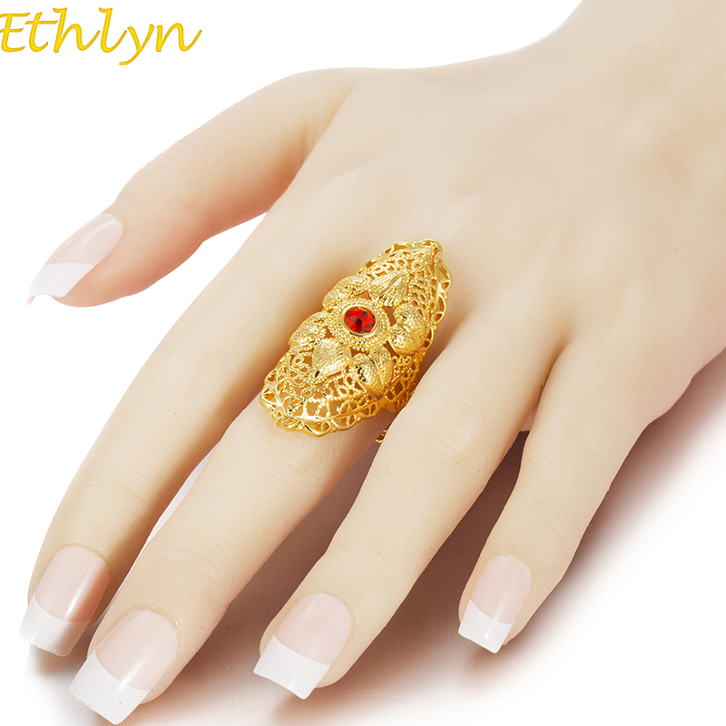 Ethlyn New Ethiopian Red Stone Wedding Ring For Women Gold Color Ring Eritrea Africa Fashion Ring Middle East Jewelry R73