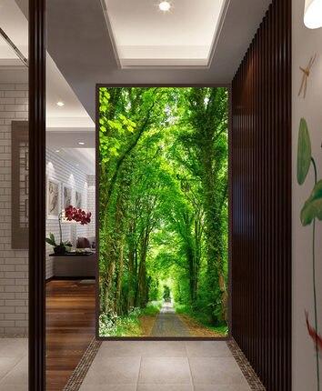 Translucent screen porch bedroom 3D old wooden door <font><b>wardrobe</b></font> <font><b>sliding</b></font> door stickers Self-adhesive film