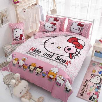 Beauty and the Cartoon 3D Printed Bedding Set for Girls Boys Bedroom Decor Cotton Bedspread Duvet Cover SingleTwin Pink Children
