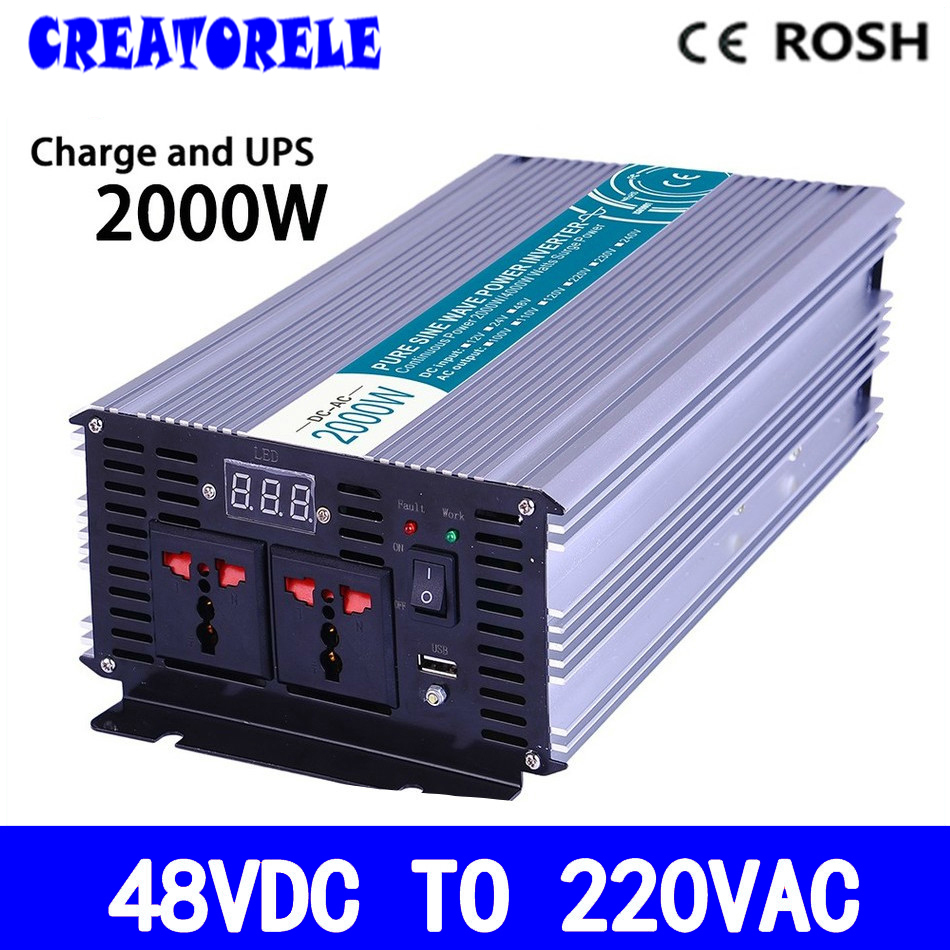 P2000-482-C UPS iverter 48vdc to 220vac 2000w soIar iverter Pure Sine Wave voItage converter with charger and UPS p800 481 c pure sine wave 800w soiar iverter off grid ied dispiay iverter dc48v to 110vac with charge and ups