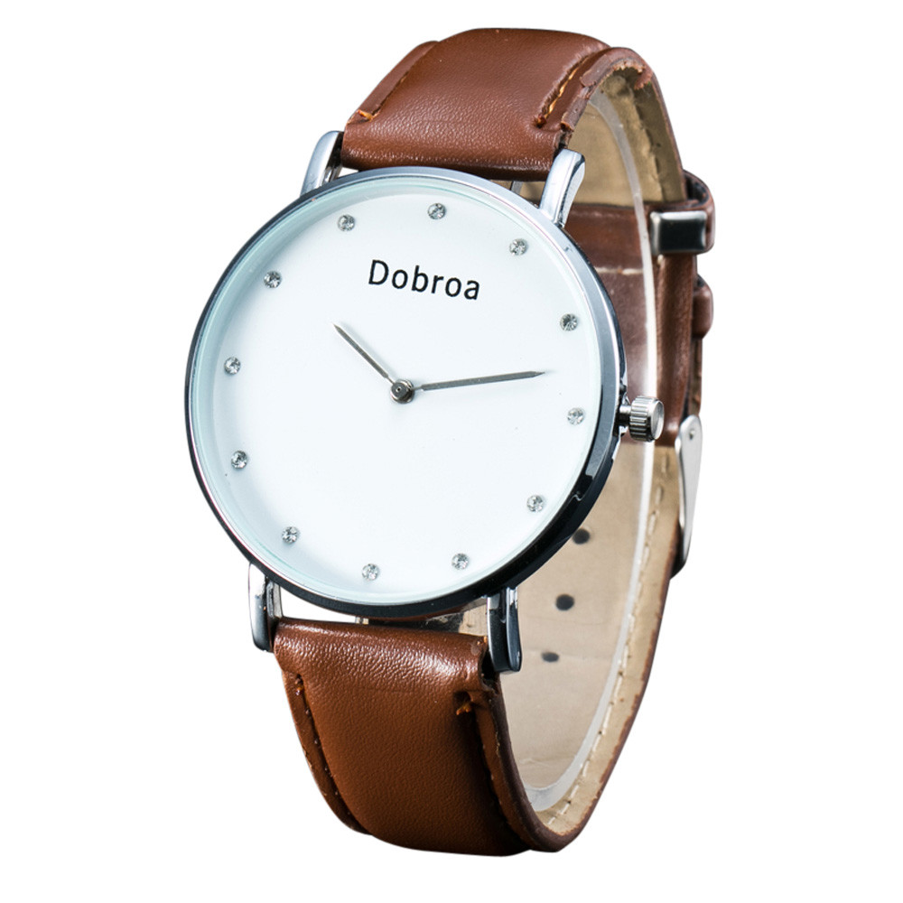 Stainless Steel Ultra Slim Mens Watches Mens Dobroa Simple Fashion Leather Quartz Wrist Watch Classics Gifts Relogio masculino