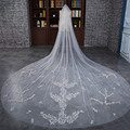 Cheap Wholesale Velos De Novia 3 Meters Ivory LCut Edge Long Cathedral Wedding Veils Bridal Gowns Accessories VL010