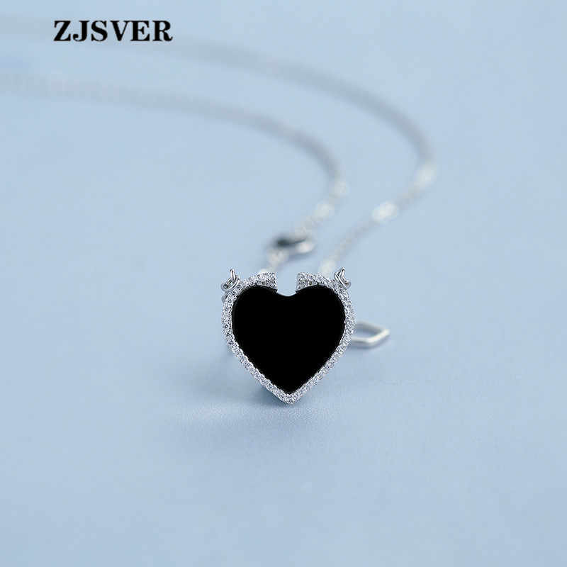 ZJSVER รูปหัวใจสีดำ Agate จี้แฟชั่นเงิน Clavicle Chain สร้อยคอผู้หญิงเครื่องประดับ Fine 925 สร้อยคอเงิน