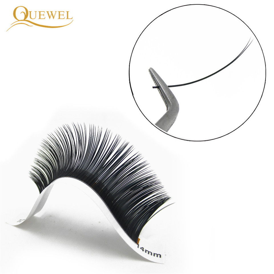 Image 5 - Quewel Flat Lashes Extension For Professionals Ellipse Flat Lash Split Tip profession Soft Silk Quewel Flat Eyelash C/D Curl-in False Eyelashes from Beauty & Health