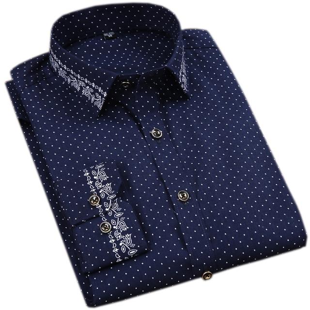 100% Cotton Printed Long Sleeve Dress Shirts 3