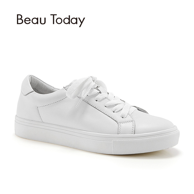 BeauToday White Shoes Women Sneakers Round Toe Lace-Up Cow Leather Lady Flats Genuine Leather Derby Shoes Handmade 29008 rizabina concise women sneakers lady white shoes female butterfly cross strap flats shoes embroidery women footwear size 36 40