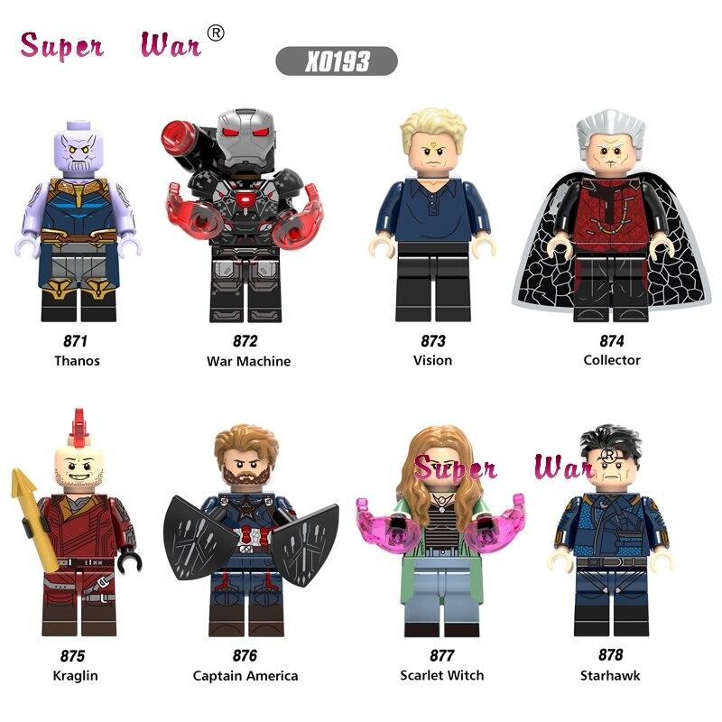 Single Thanos War Machine Captain America Starhawk Vision Collector Scarlet Witch Kraglin Building Blocks Toys For Children