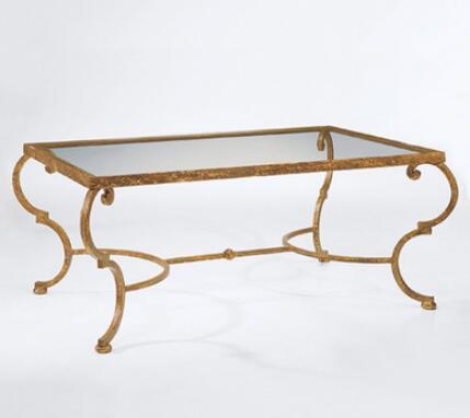 American art hardware toughened glass tea table. Creative tea table. Rectangular coffee table