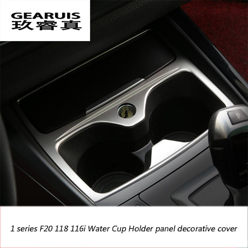Car <font><b>Interior</b></font> Water Cup Holder panel decorative cover trim For <font><b>BMW</b></font> 1 series F20 <font><b>116i</b></font> 118i Car styling Stainless steel Accessories image