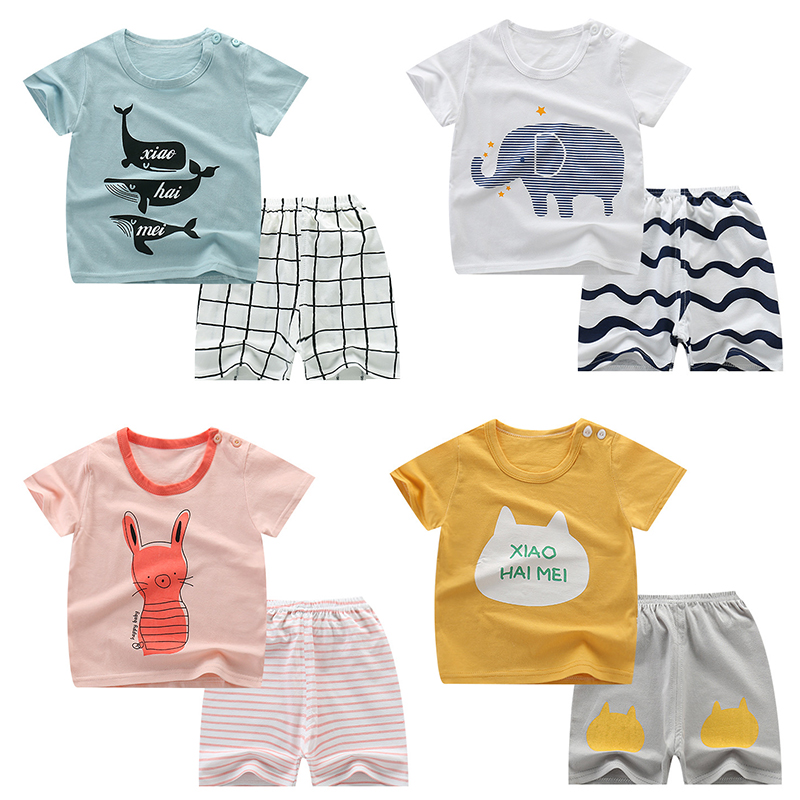 Baby Pyjamas Pants Clothing Kids Sleepwear Girls Short-Sleeves Boys Children's Cartoon title=