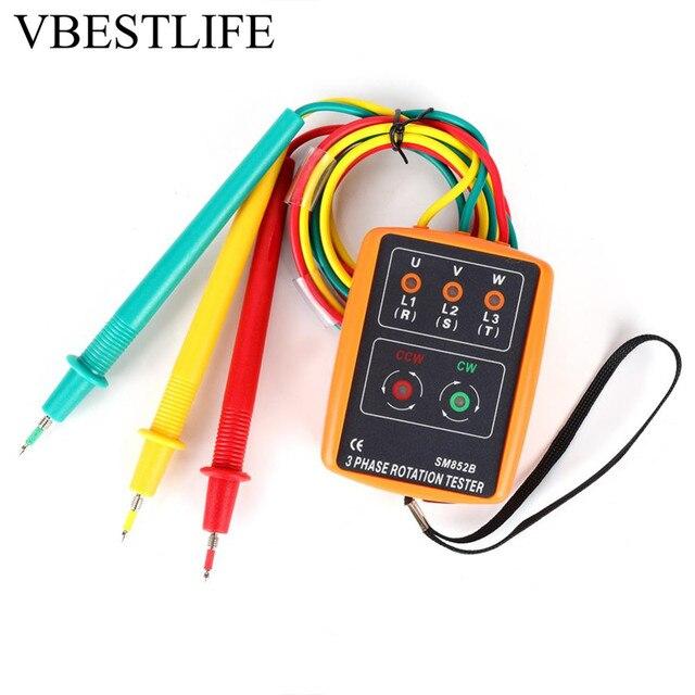 3 Phase Tester SM-852B 3 Phase Sequence Tester 60V~600V AC Sequence Order Rotation Indicator Tester 20Hz-400Hz