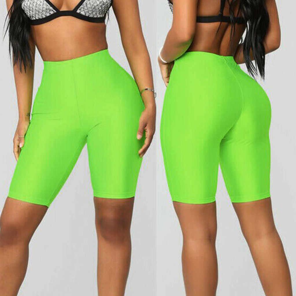 Wysokiej zwężone szorty dżinsowe moda damska Solid Bike elastyczne spodenki wysokiej talii legginsy sportowe na co dzień krótkie femme grande taille #0