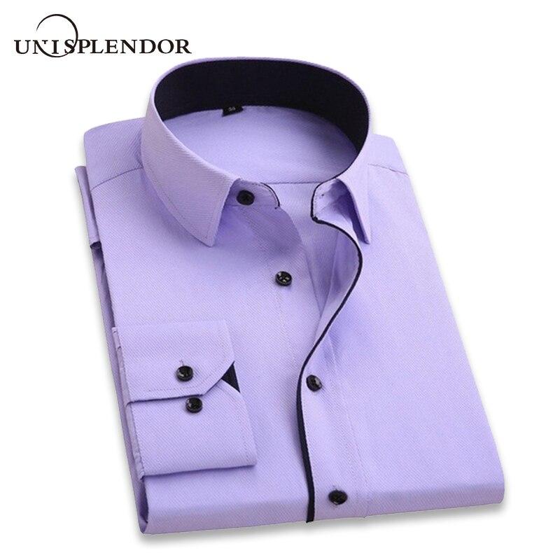 unisplendor Men Dress Shirts 2020 New Man Fashion Long Sleeve Slim Fit High Quality Solid Casual Business Man's Shirt 4XL YN630 3