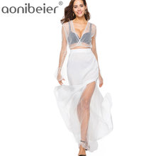 d6ffbdde89 Aonibeier Polka Dot Long Sleeve White Maxi Party Dress Sexy Deep V-Neck See  Through Robe Women Lace Dress High Split Suits